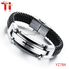 Jewelry Fashion Solid Stainless Steel Cross Braide Leather Bangle Bracelet Men Jewelry