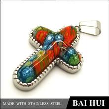 clásico de acero inoxidable de plata de cristal de murano colgantes cruz