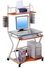 Mobile office glass desktop computer table with cd rack
