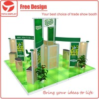 Yota modular island 20x20 or 6x6 exhibition stand with lighting glass floor