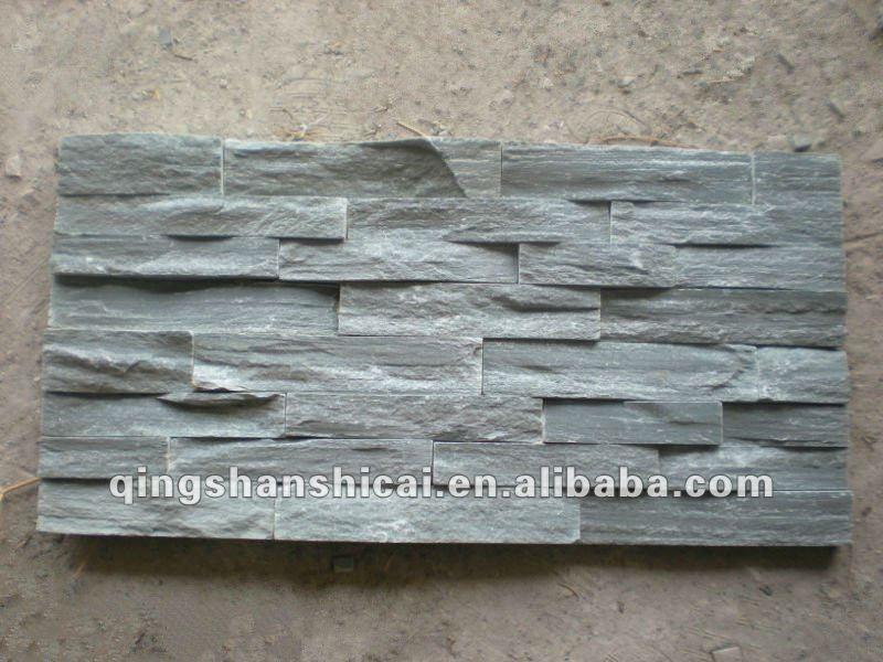 Grigio ardesia impilati pietra piastrelle muro di mattoni decorativi interni muri di mattoni - Piastrelle muro pietra ...