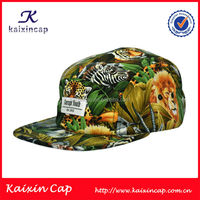 tiger and lion animal pattern 5 panel camp cap hat with label patch