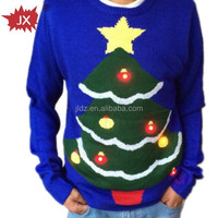Women and men Christmas Sweater with small waterproof led lights for 2015 new year