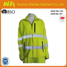 yellow polar fleece fabric jacket for worker comfotable safety jacket hi vis reflective polar fleece jacket
