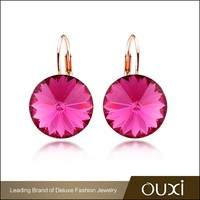 OUXI jewelry direct sale genuine handmade pink crystal 2015 earrings, crystals from Swarovski