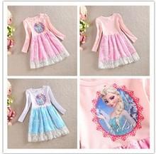 al por mayor nuevo 2014 Frozen vestido Elsa & Anna Dress For muchacha de la princesa Vestidos niña vestidos de fiesta