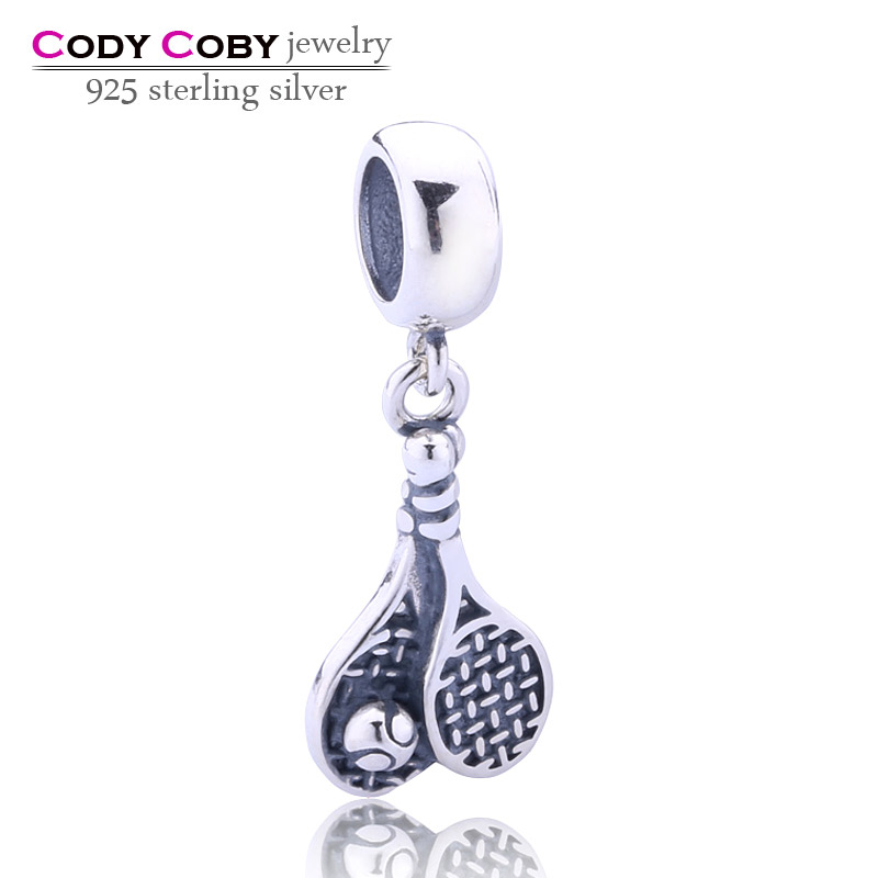 wholesale real 925 sterling silver tennis dangle charm