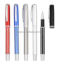 branded blue metal roller gel ink pen