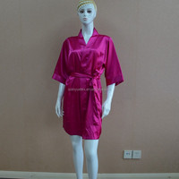 Cheap satin silk fuchsia sexy women nightgown