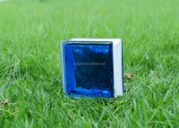 Blue inner-colored cloudy glass block for building decoration 19*19*8cm