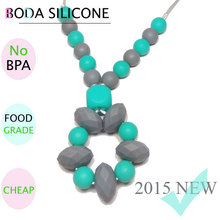 2015 BPA Free food grade Silicone bead necklace childrens silicone baby chew beads necklace
