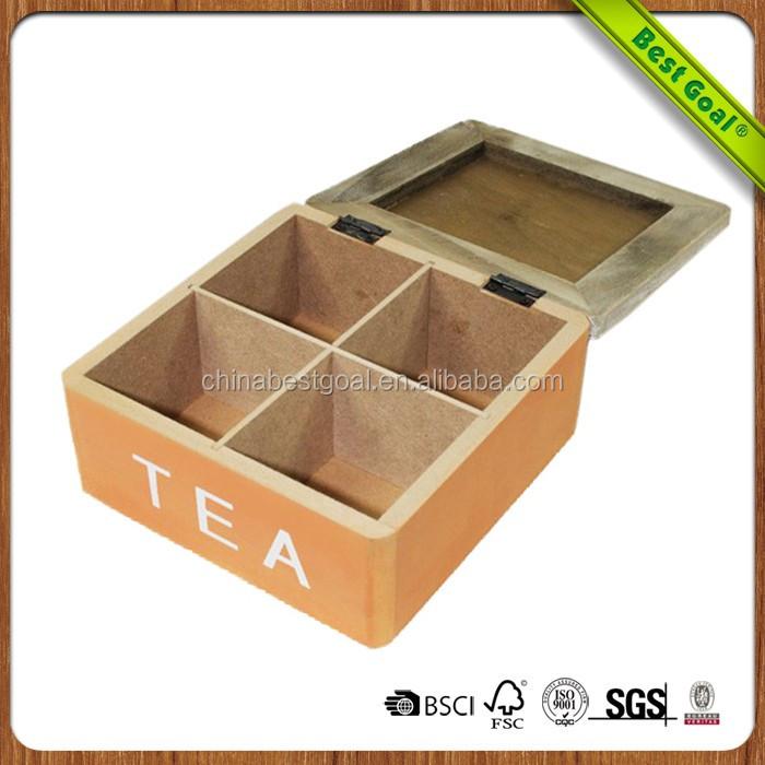 Caja de té de madera redonda de forma redonda