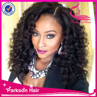 Fashion curly full lace wig for black woman , virgin brazilian lace wig