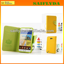 Factory price leather flip phone case for samsung galaxy note 2 n7100 wallet case