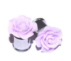 Purple Rose Acrylic Ear Plug Expanders Piercing Body Jewelry