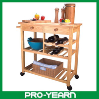 Modern Design Wooden Kitchen Trolley with 4 Tier and 2 Drawer and 4 Caster and 1 Handle