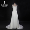 Real Sample A-line Pleated Crystal Beaded Waist Band One Shoulder Beach Casual Chiffon Wedding Dresses Patterns 2016