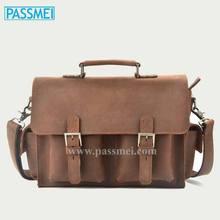 Vintage Crazy Horse Leather Men Handbag, Men's Genuine Leather Shoulder Bag Briefcase