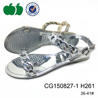 Ladies elegant sliver soft pvc jelly casual low heel sandal shoes