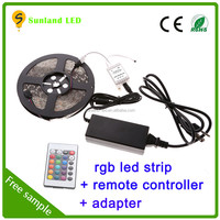 12v led strip ip65 waterproof smd 5050 flexible led strip ce rohs approval 5m rgb 5050 led strip kit with remote controller
