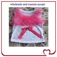 flower hot pink camisole western kids wear, baby girls ruffle short sleeve T-shirt