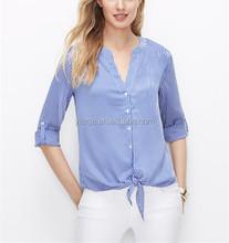 Señora blusa y tops casual 2015 top moda poliéster modelos blusa de la gasa QB006