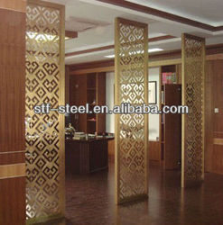 new design chinese laser cut stainless steel metal decorative room divider/partitions/folding screens panel /curtain OEM/ODM
