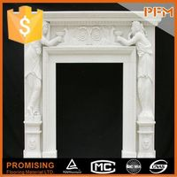 latest hot sale cheap well polished beautiful hand carved clay outdoor white fireplace