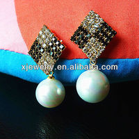 wholesale 925 silver 12mm round rainbow white south sea shell pearl earring