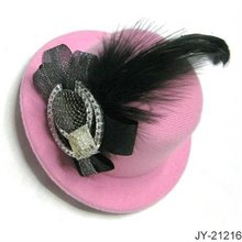 Mini hat Hair Barrette with Feather