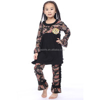 Fashion Boutique Clothes Black Paisley Kintted Peasant Top and Ruffle Pant Outfit