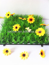 New Arrival UV assistance artificial grass carpet with flowers for Garden ornaments