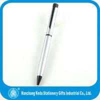 new design silver body and black clip metal twist pen