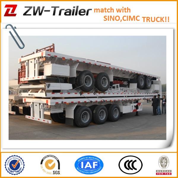 De acero al carbono eje tri cubiertas de cama plana del remolque del camión( tamaño opcional)