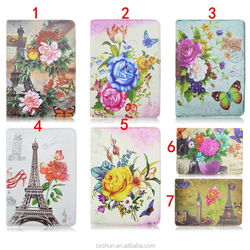 Wholesale Flower Painting Rotation Fold Folio Stand PU Leather Case Covers Case For Apple iPad Mini 4 with Elastic Belt