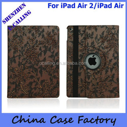 High Quality Hand-made Genuine Flower Leather Case For iPad Air 2/iPad 6