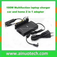 65W 80W 100W 120W multifuction laptop charger universal adapter home/car 2 in 1