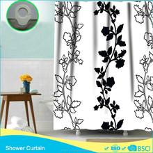 Hook Less Shower Curtain Black &White Painting Fashion Design