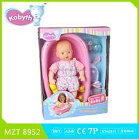 2015 new item 14 inch lovely baby doll+bathtub+cloth+duck