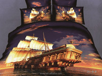 wholesale 100% cotton home textile 4pcs big sailboat pattern king size bedding set 3d bedding