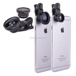 News 3 In 1 Mobile Phone Macro Fish Eye Lens Universal Wide Camera Lenses for iPhone 5S 6 Plus Samsung Galaxy S6 S5 Note 4