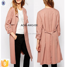 European style Autumn women long pink trench coat