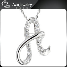Fashion 925 Sterling Silver Alphabet A letter Charms Pendant