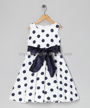 2015 boutique clothing sexy belt white party dress clothing black polka dot plus size clothing for little girls