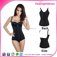 Removable black ladies steel boned plus size waist training vest