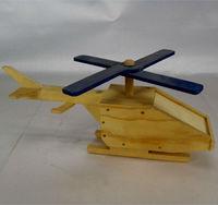 Handmade wooden antique helicopter model