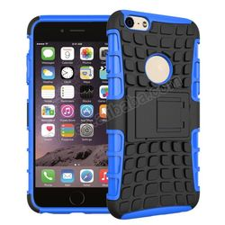 Tire grain style case for iphone 6 with stand bracket PC+TPU 2 in 1 Hybird cover with holder for ipad