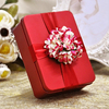 Luxury red wedding favor box tin with hingled lid