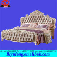 wholesale European soft flannelette relies carve patterns designs on woodwork craft high solid wood box double marital bed