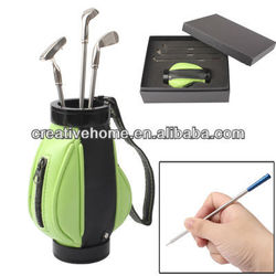 Golf Bag Pen Holder with 3 Golf Clubs Shape Ball Pens